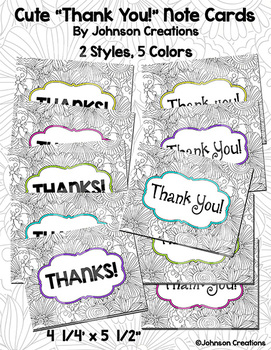 """Cute """"Thank You!"""" Note Cards"""