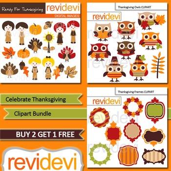 Cute Thanksgiving Clip Art Bundle / kids, turkey, owls, frames (3 packs)