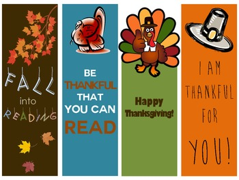Cute Thanksgiving and Fall Bookmarks, Reading Gifts for Students