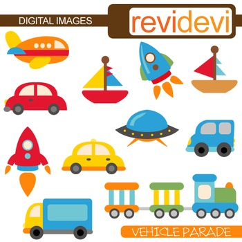 Cute Transportation Clip Art (cars, rockets, boats) vehicle clipart