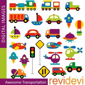 Cute Transportation Clip art (choo choo trains, cars) colorful vehicle clipart
