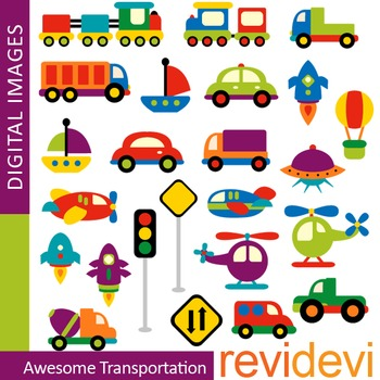 Cute Transportation Clip art (choo choo trains, cars) colo