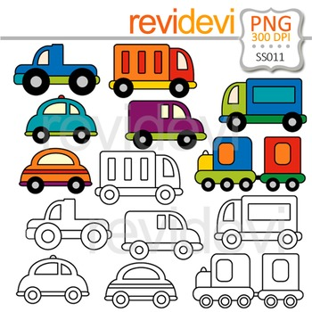 Cute Transportation Clipart - Clip art and Line art