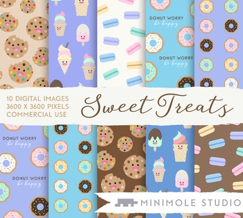 Cute Treat Food Pattern Digital Papers, Ice Cream, Donuts, Sweets