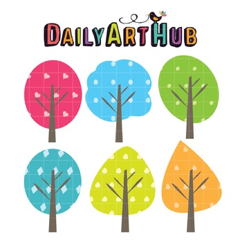 Cute Trees Clip Art - Great for Art Class Projects!