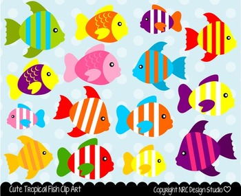 Tropical fish clipart commercial use