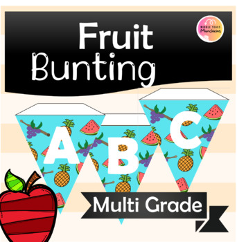 Cute Tropical Fruit Food Bunting Alphabet