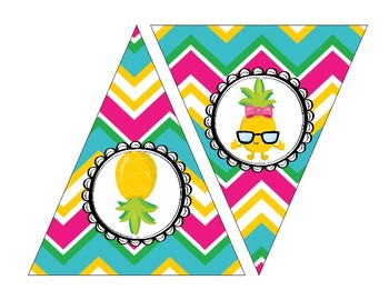 cute tropical pineapple welcome banner and printable banners tpt