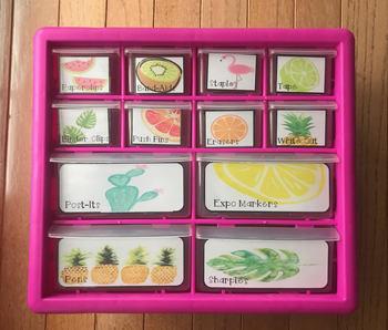 Cute Tropical Teacher Toolbox Labels
