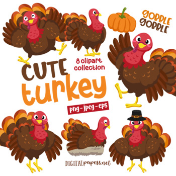 Free Turkey Clipart, 2 pages of free to use images