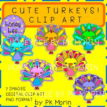 Cute Turkeys Clip Art