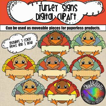 Cute Turkeys with Signs Moveable PNG Graphics