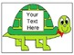 Cute Turtle Clip art with Editable Text boxes