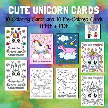 Cute Unicorn Cards - Set of 10
