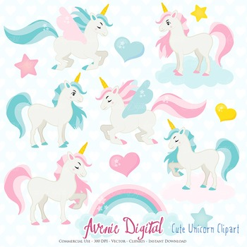 Cute Unicorn Clipart Scrapbook Commercial Use. Pegasus flying horse graphics