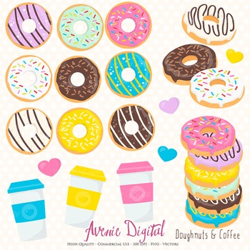 Donut and Coffee Clipart Scrapbook Commercial Use. Doughnu
