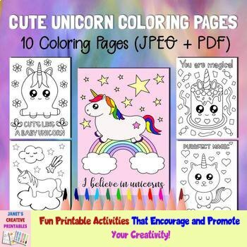 Cute Unicorn Coloring Pages Set Of 10 By Janet S Educational Printables