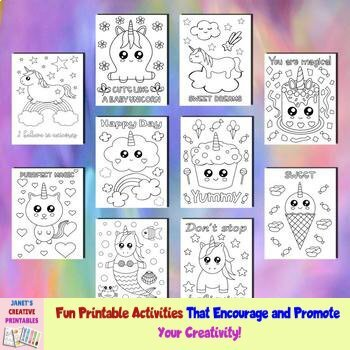 Cute Unicorn Coloring Pages - Set of 10 by Janet's ...
