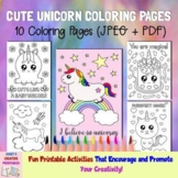 Cute Unicorn Coloring Pages - Set of 10