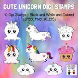 Cute Unicorn Digi Stamps - Set of 10 - Black and White and
