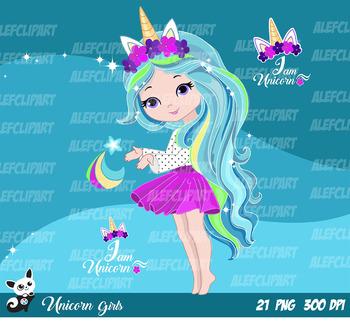 Cute Unicorn Girls Fashion Girl Clipart
