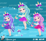 Cute Unicorn Girls Fashion Girl Clipart
