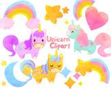 Cute Unicorn clip art, Watercolor clipart for personal and