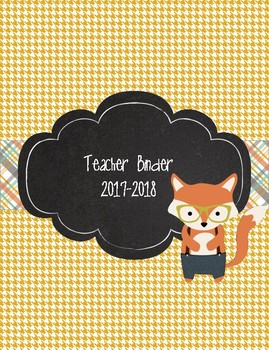 Cute Unique Hipster Fox Teacher Binder 2016-2017 Plaid and