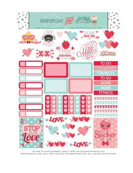 photograph regarding Valentine Stickers Printable named Adorable Valentine Stickers Planner Printable - Valentines Working day Printable Stickers