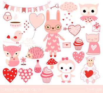 Cute Valentine animals clipart, Pink love animal clip art, bunny, fox, hedgehog