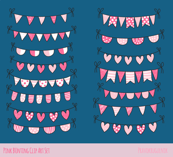 Cute Valentine doodle buntings clipart, Pink love heart banner clip art pennant