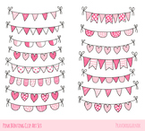 Cute Valentine doodle buntings clipart, Pink love heart ba