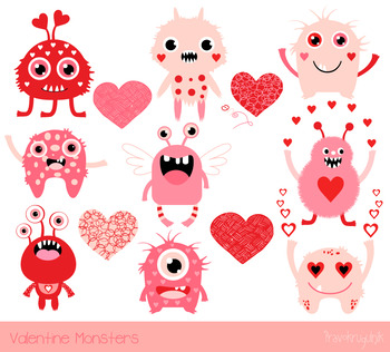 Valentines day cute. Valentine monsters clipart love