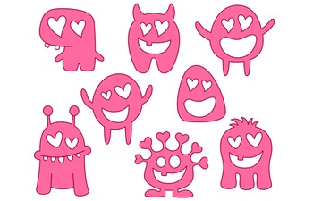 Cute Valentine's Day Monsters