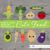 Cute Vegetable Clip Art, Healthy Eating Graphics, PNG