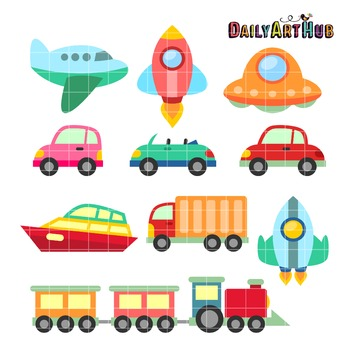 Cute Vehicles Clip Art - Great for Art Class Projects!