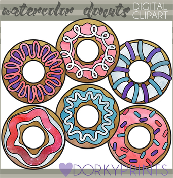 Cute Watercolor Donuts Clipart
