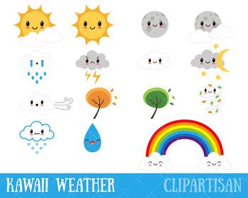 Cute Weather Clipart, Kawaii Weather Clip Art