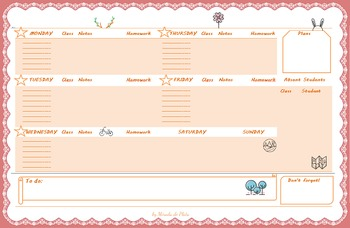 Cute Weekly or Lesson Planner Templates for Teachers