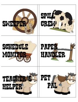 Cute Western Classroom Helpers Chart