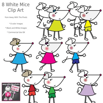 Cute White / Gray Mouse Clip Art - 8 Color Images and Blac
