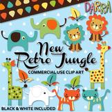 Cute Wild Animals Clip Art {elephant, tiger, lion, giraffe clipart}