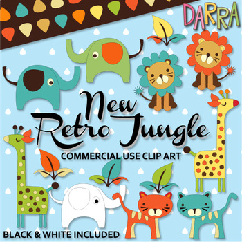 Cute Wild Animals Clip Art {elephant, tiger, lion, giraffe clipart}