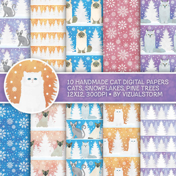 Cute Winter Pet Digital Paper - 10 Handmade White Christmas Cat Backgrounds