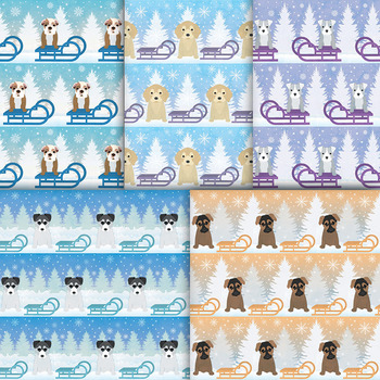 Cute Winter Puppy Digital Paper - 10 Holiday Puppies, Sleighs, Snowflakes, Trees