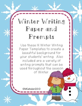 Cute Winter Writing Paper Templates and Prompts