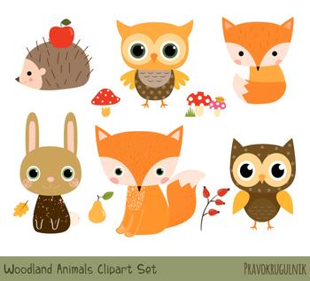 Fox woodland. Cute animal clipart forest
