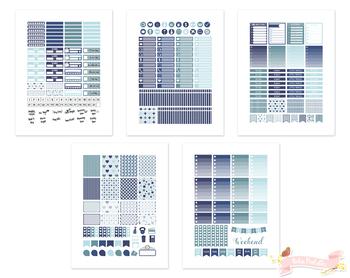 Navy Blue Printable Weekly Planner Stickers fits Erin Condren
