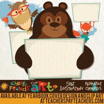 Cute Woodland Animals with Signs clip art
