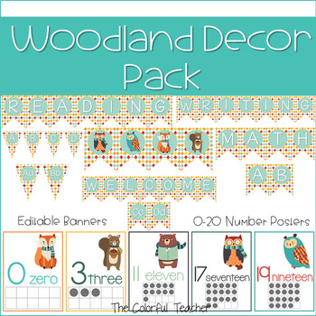 Cute Woodland Classroom Decoration Pack EDITABLE